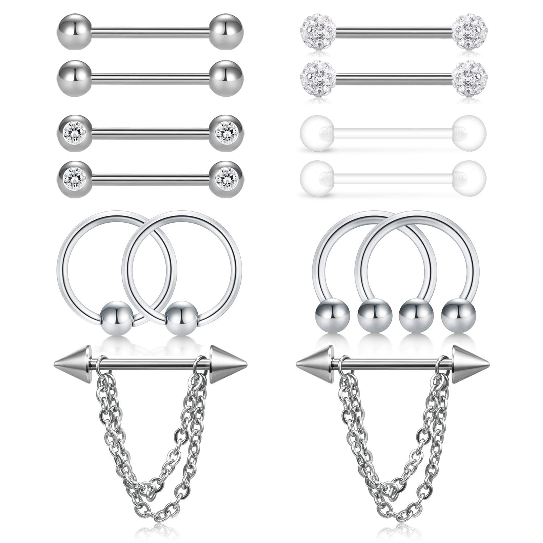 Incaton 14G Stainless Steel Nipple Rings CBR Chain Dangle Nipplerings Piercing Straight Clear Nipple Tongue Rings Piercing Barbell Retainer Cartilage Earrings for Women Men 7 Pairs