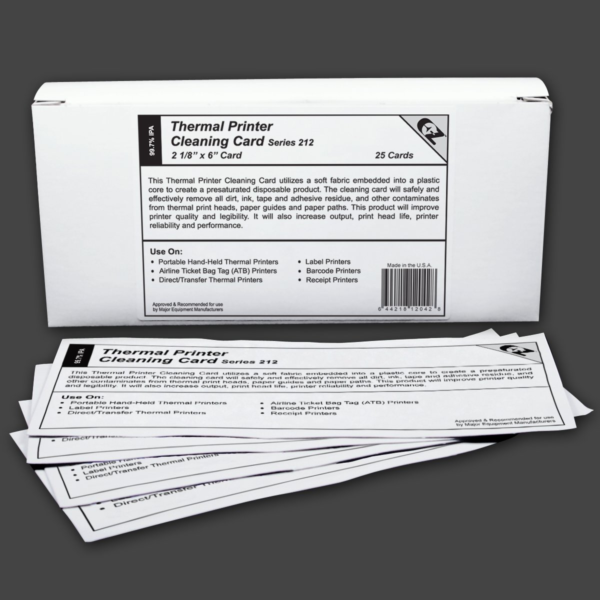 Thermal Printer Cleaning Card 2 1/8''X6'' - 53.9mm x 152.4mm (25 cards)