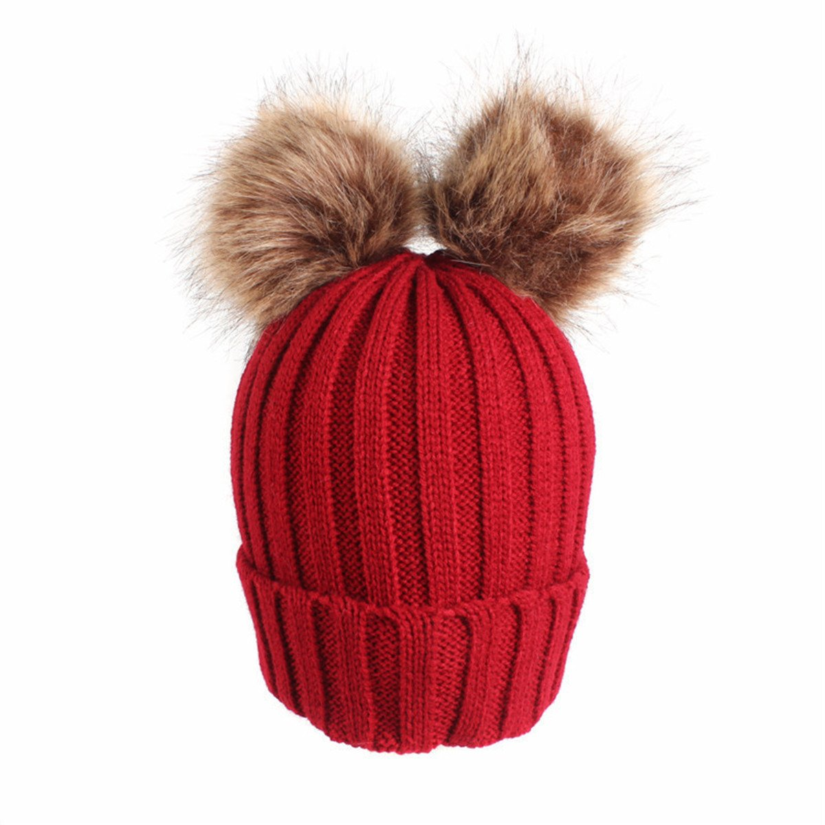 Qhome Kids Winter Warm Beanie Hat With Pom Pom Children Beanies Knitted Hats