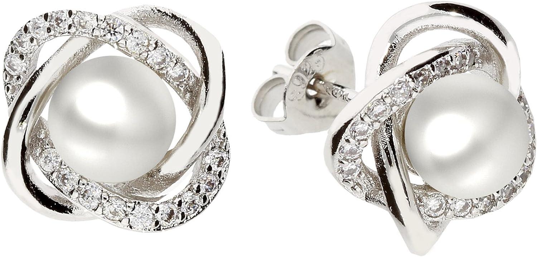 Mya tipo–Pendientes perla pendientes 925plata de ley rodio infinity anillos con perlas circonitas brillantes color blanco myas iohr de 98