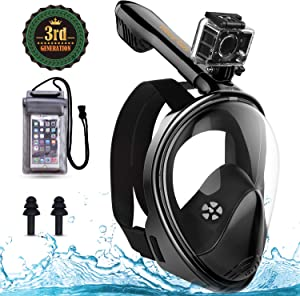 weird tails Full Face Snorkel Mask,Advanced Safety Breathing System Allows ,You to Breathe More Fresh Air While Snorkeling,180 Panoramic Anti Fog Anti Leak Foldable Diving Mask for Adult and Kids