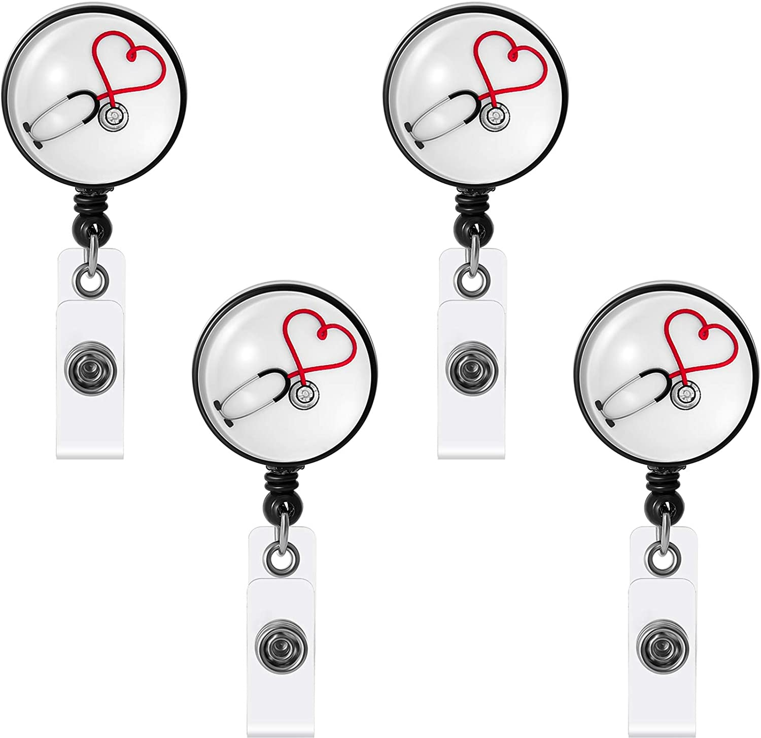 4 Pieces Retractable Badge Alligator Clip Retractable Badge Holder ID Badge Reel Clip for Nurse Work Badge Name ID Card (Classic Style)