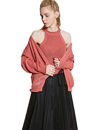 ea1d254e15c Elf Sack Women Long Cardigan Sweater Red S
