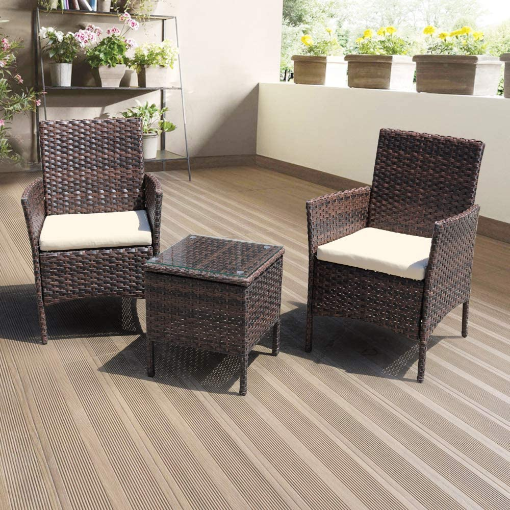DIMAR GARDEN 3 Piece Outdoor Patio Furniture Sectional Chair Conversation Set Lawn Pool Wicker Rattan Patio Chair with Coffee Table (Mix Brown)
