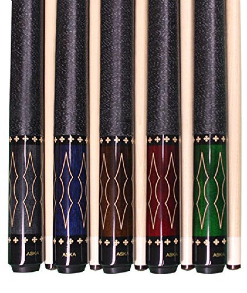 [アスカ]Aska Set of 5 L22 Billiard Pool Cues, 58 Hard Rock Canadian Maple, 13mm Hard Tip, Mixed Weights, Smoke, Blue, Brown, Green, Red. [並行輸入品] B01JNU656K
