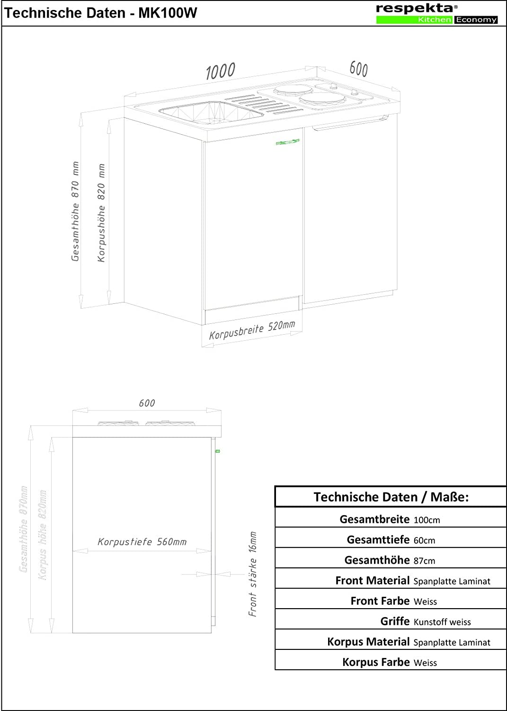 con doppio piano di cottura pensili respekta MK 100 WOS Minicucina 100 x 60 cm