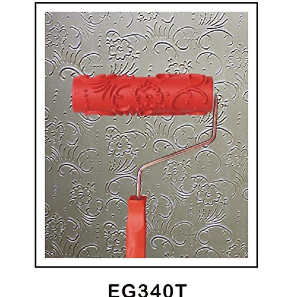 7 el Rodillo de Pintura en Relieve de la Flor con el Mango de pl/ástico para la decoraci/ón de la Pared