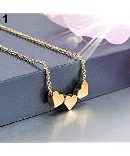 Yimosecoxiang Attractive Elegant Three Love Hearts Charm Pendant Necklace Women Cocktail Casual Jewelry - Gold
