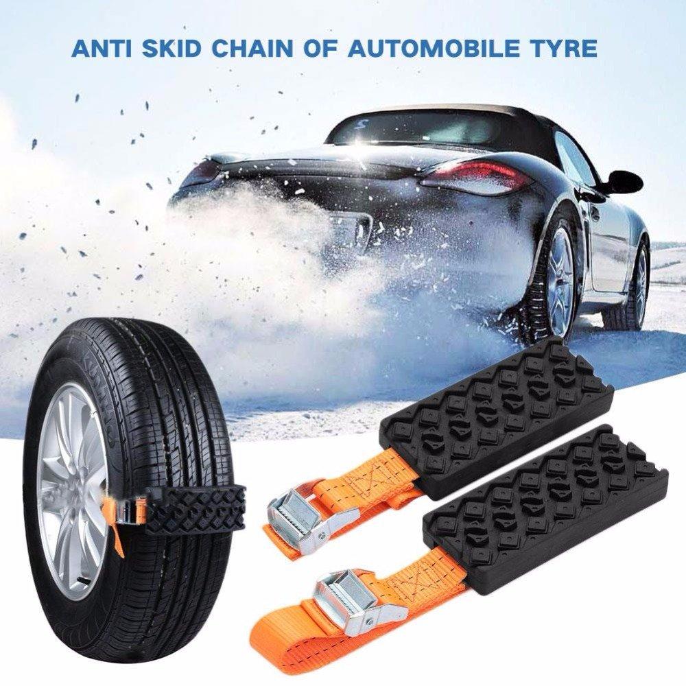 FEZZ 2PCS Cadenas Nieve Coche Antideslizante Rueda Plástico Universal Ajustable Invierno Baja temperatura Resistencia Apta para Vehículos