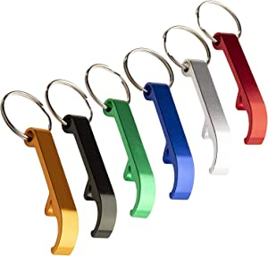 Bottle Opener Keychain - 24-Pack Heavy Duty Metal Key Chains with Beer Bottle Opener. Pocket Size Small Bar Claw Beverage Key Rings, 6 Assorted Colors