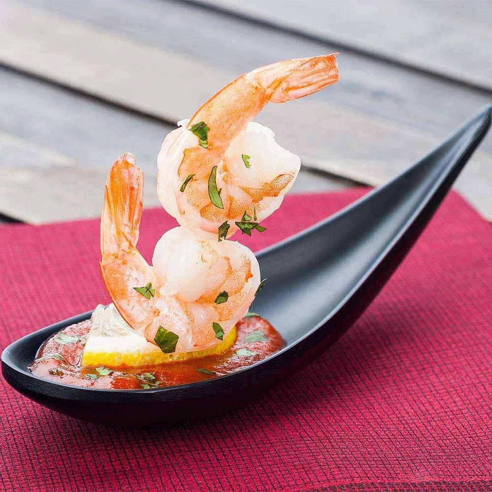 Black Restaurantware 4.3 Voga Melamine Japonais Modern Tasting Spoon 10ct Box Small