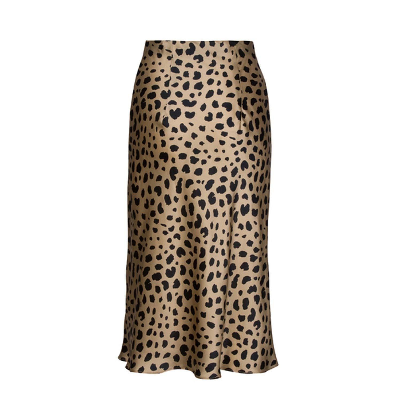 High Waist Leopard Midi Skirt Hidden Elasticized Waistband Silk Satin Skirts Slip Style Animal Print Skirt Women