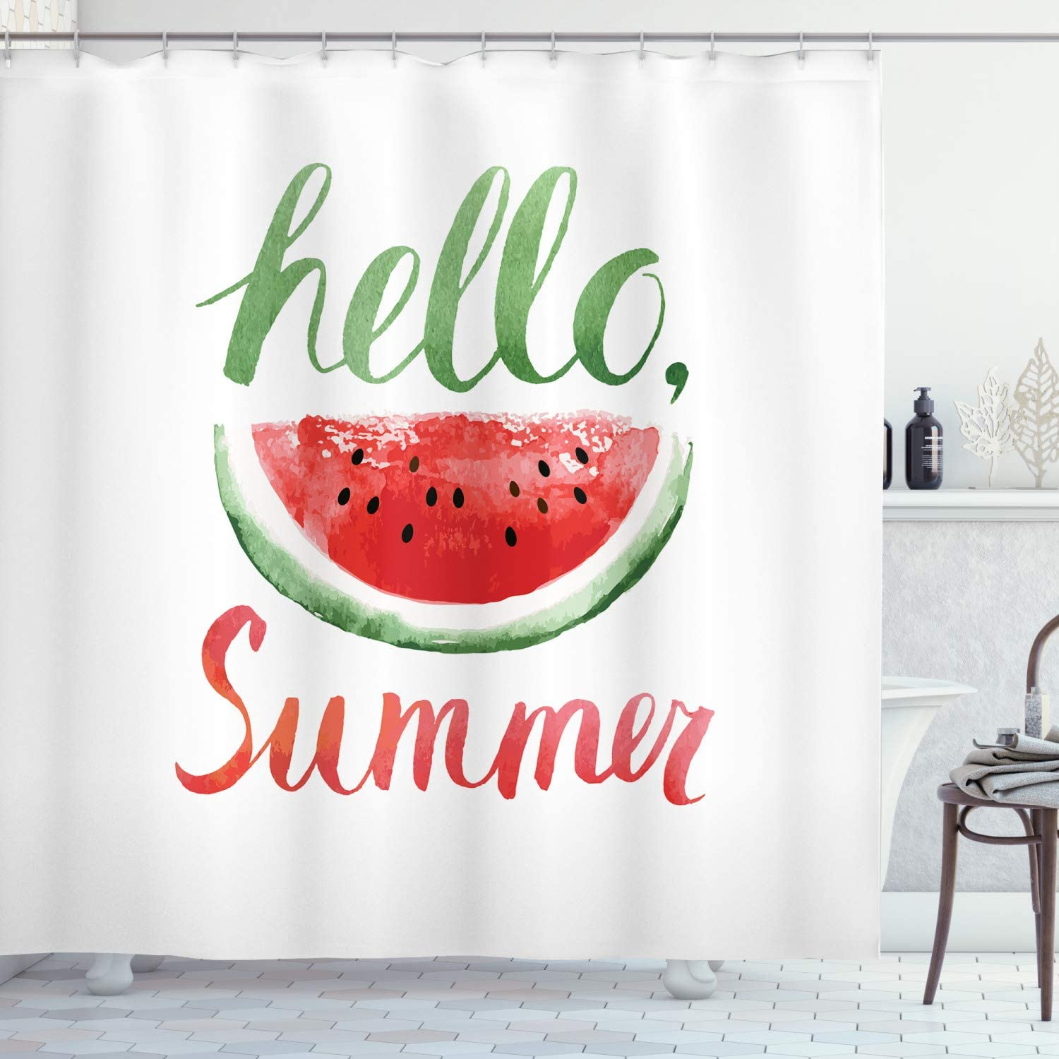 Ambesonne Summer Shower Curtain, Watermelon Calligraphy Fruit Fresh and Healthy Food Summer, Cloth Fabric Bathroom Decor Set with Hooks, 75