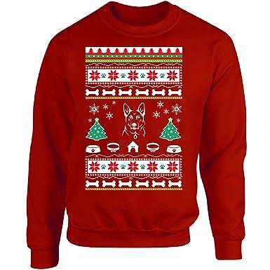 ugly christmas sweater german shepherd dog design ttd16 adult sweatshirt s red