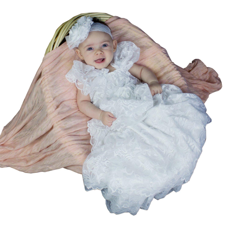 Dressvip Baby Spitze Taufkleider Weißes Babykleid für Tauf Party ...