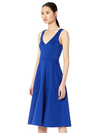 TRUTH & FABLE Robe Midi Femme Corsage en Dentelle Brodée, (Blue), 42 (Taille Fabricant: Large)