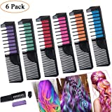 Hair Chalk, Leegoal [2018 Updated] 2 IN 1 Washable Hair Chalk Color Comb Non-toxic Temporary Hair Chalk Colour Set Gifts for Girls & Women for Party, Birthday, Cosplay, Festivals, 6 Colour