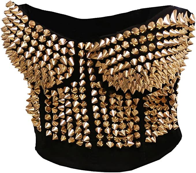 80s Tops, Shirts, T-shirts, Blouse BSLINGERIE Madonna Style Metallic Studs Bustier Bra Corset Top $26.99 AT vintagedancer.com