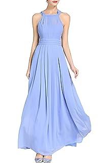 ae37921a6650 Little Smily Women's A-line Halter Top Chiffon Pleated Maxi Bridesmaid Dress