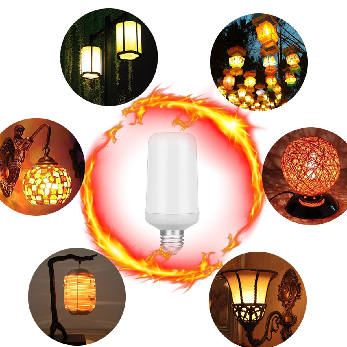 Warmoon LED Flame Light Bulbs E26 Base Flame Lamp True Fire Color Atmosphere Lighting Led Flame Effect Light Bulb for Home Hotel Bar Halloween Christmas Festival Decorations (Upside Down Available)