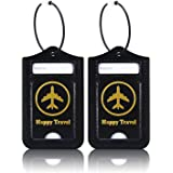 Luggage Tags, ACdream Leather Case Luggage Bag Tags Travel Tags 2 Pieces Set