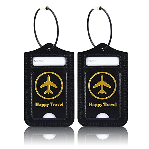 a5698048dbf6 Luggage Tags, ACdream Leather Case Luggage Bag Tags Travel Tags 2 Pieces Set