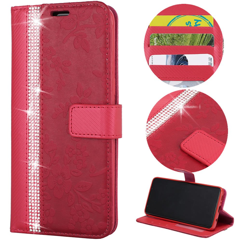Stysen Wallet Case for Galaxy S6,Glitter Leather Case for Galaxy S6,Glitter Small Flower Design Stitching Color Diamond Flip Case Cover for Samsung Galaxy S6-Red by Stysen