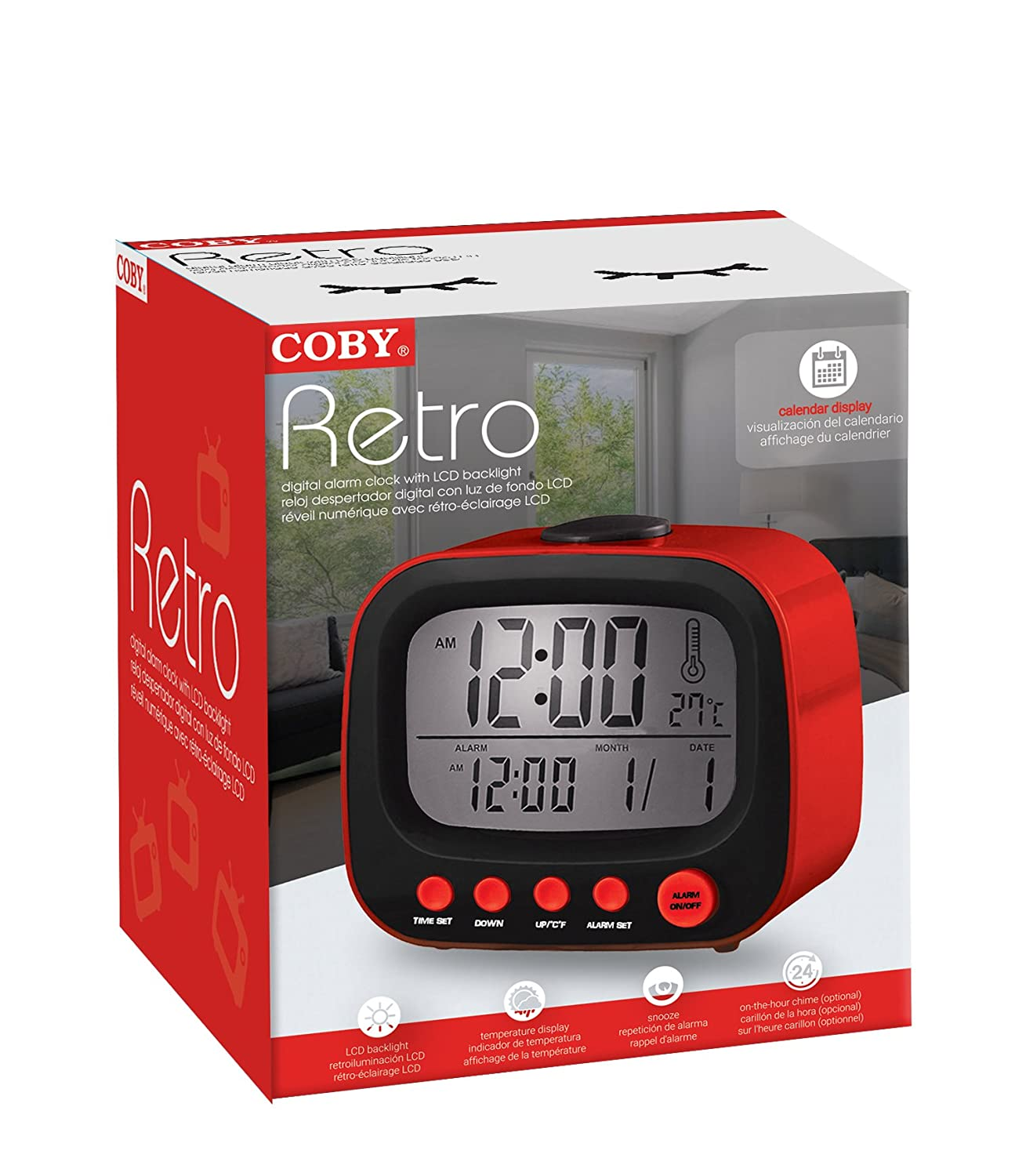 Amazon.com: Coby CBC-52-RED Retro LCD Alarm Clock (Red): Home Audio & Theater