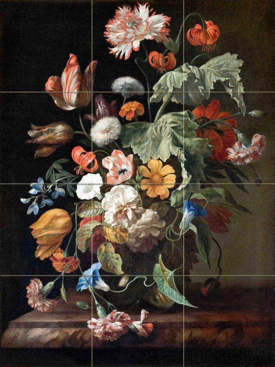 Still-Life with Flowers by Rachel Ruysch Tile Mural Kitchen Bathroom Wall Backsplash Behind Stove Range Sink Splashback 3x4 8'' Ceramic, Matte by FlekmanArt