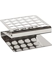 """Globe Scientific 457200 Stainless Steel""""Z"""" Shape Tube Rack, 16/17mm Tubes, 25-Place"""