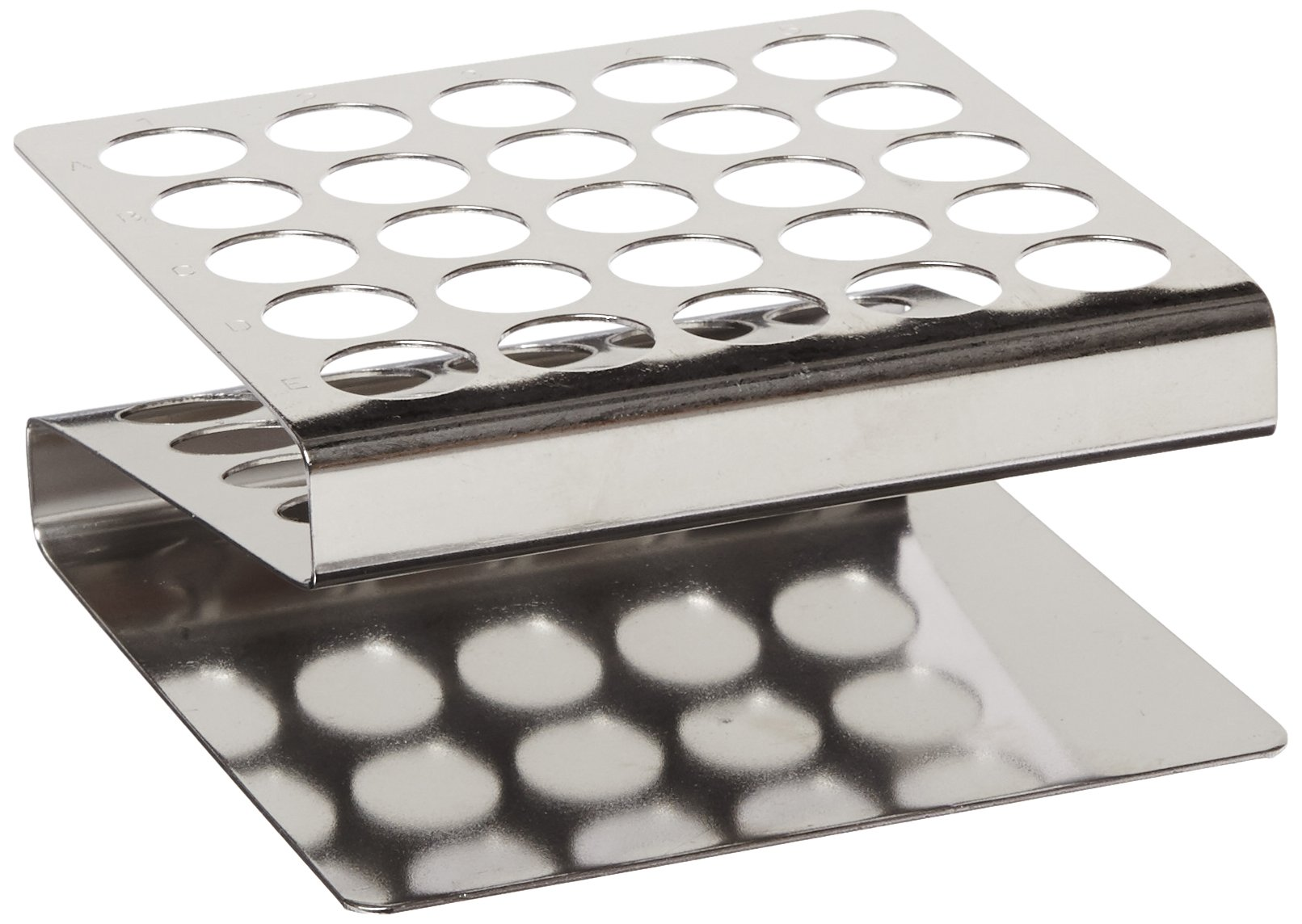 Globe Scientific 457200 Stainless Steel ''Z'' Shape Tube Rack, 16/17mm Tubes, 25-Place
