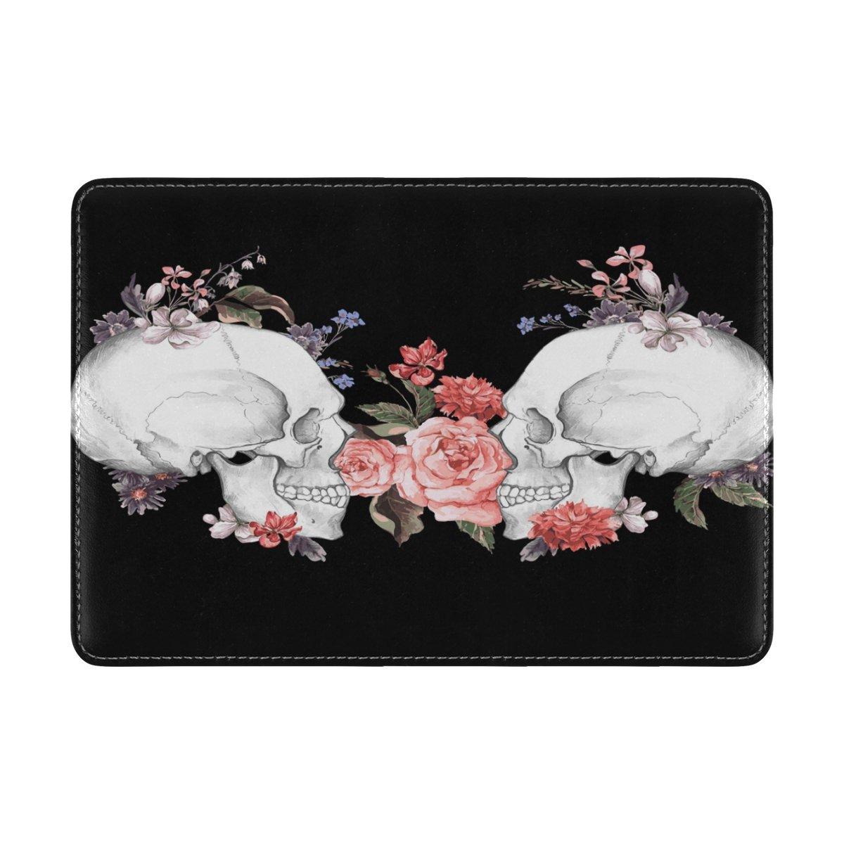 ALAZA Pink Rose Flower Sugar Skull Black PU Leather Passport Holder Cover Case Travel One Pocket