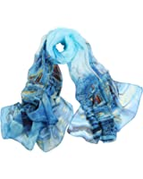 STORY OF SHANGHAI  Women's Mulberry Flower Print Soft Large Silk Scarf Wraps 68*43 Inches