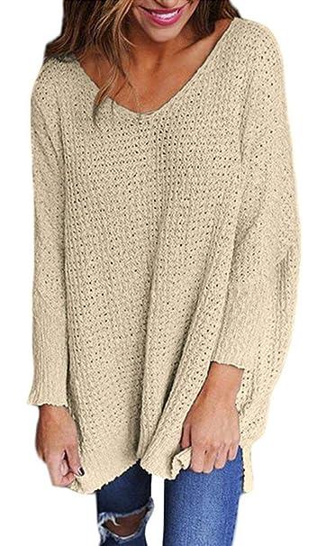 4119e78a6cc6 Jersey Mujer Otoño Invierno Elegantes Moda Jersey Largo V Cuello ...
