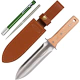Hori Hori Garden Knife with Diamond Sharpening Rod, Thickest Leather Sheath and Extra Sharp Blade - in Gift Box. This…