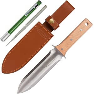 Hori Hori Garden Knife with Diamond Sharpening Rod, Thickest Leather Sheath and Extra Sharp Blade - in Gift Box. This Knife Makes a Great Gift for Gardeners and Campers!…