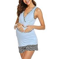 049c48cb82a3f Ekouaer Womens Maternity Nursing Pajamas Shorts Set Stripe Soft Pregnancy  Breastfeeding Sleepwear (S-XXL