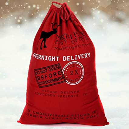 Christmas Santa Sack hessian large gift bag Reindeer design vintage stocking