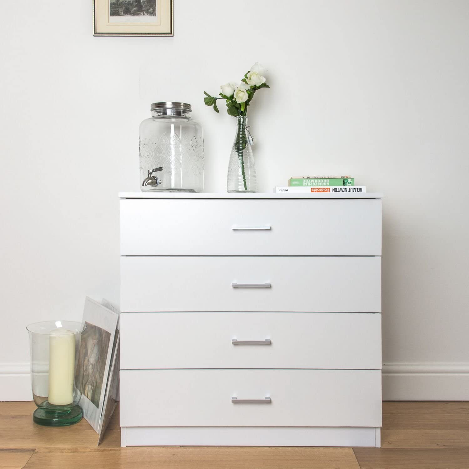 Home Treats White Chest Of Drawers Bedroom Furniture Anti Bowing Clothes Organiser For Any Room White 4 Drawer Amazon Co Uk Kitchen Home
