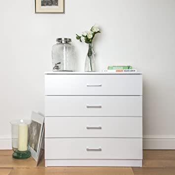 Home Treats Chest Of 4 Drawers Bedroom White. With Metal Runners and  Anti-Bowing Supports