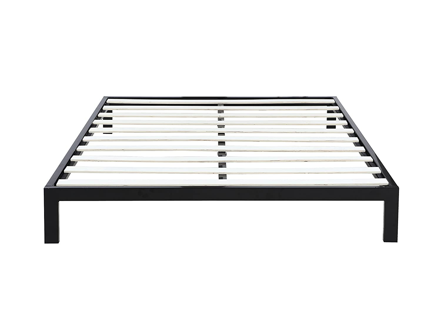 amazoncom modern  low metal platform bed frame  mattress  - amazoncom modern  low metal platform bed frame  mattress foundation ( queen black) kitchen  dining
