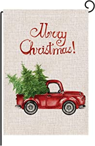 ValueVinylArt Merry Christmas Garden Flag, Vertical Double Sized Red Truck Garden Flag Seasonal Rustic Farmhouse Outdoor Yard Decor 12.5 x 18 Inch
