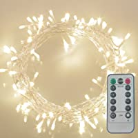 GHJ 50/100/200 LED Battery Operated Remote Control Waterproof String Fairy Lights indoor/outdoor for Christmas Tree XMAS Garden Party (200 LEDs, Warm White)