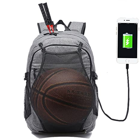 433a8a31b9dc KEYNEW Men s Laptop Backpack with USB Charging Port Hidden Basketball Net  Up for 15.6 inch Computer Waterproof Travel Shoulder Bag - Gray  Amazon.ca   ...