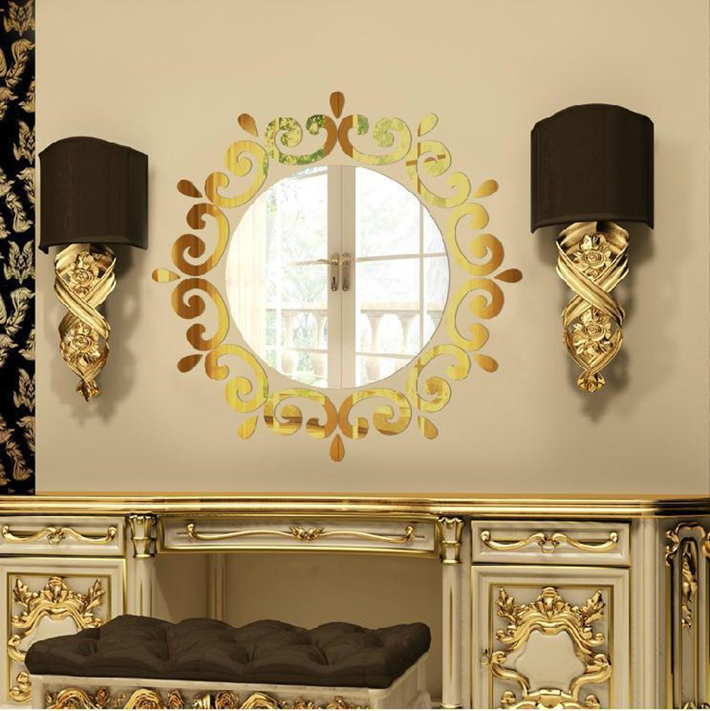 Amazon.com: Simple 3D Flowers Round Mirror Wall Stickers Living Room ...