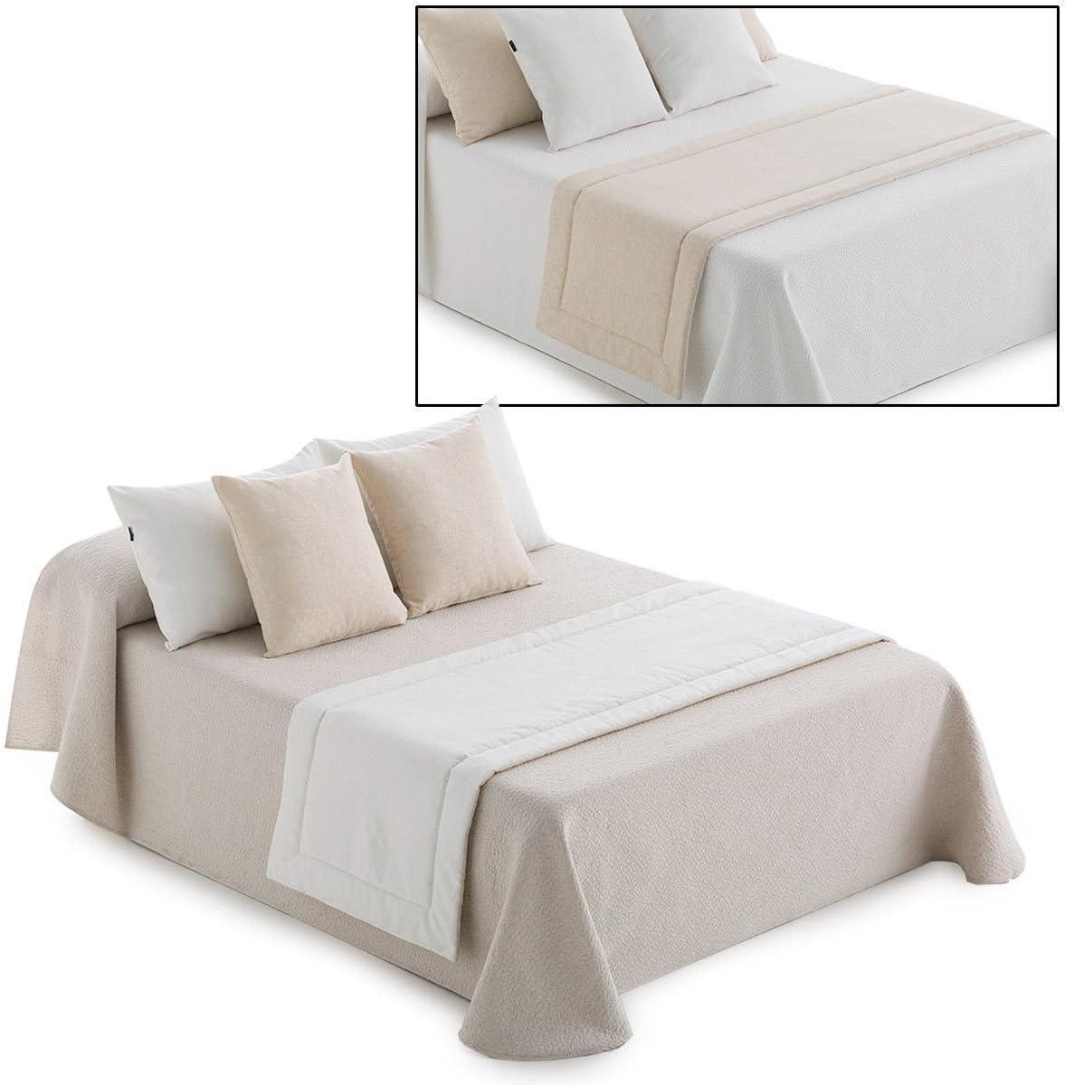 dimensioni varie Q922 60x220 cm BEIGE Runner trapuntato per letto Dream bicolor reversibile