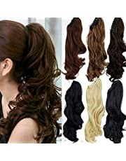 18 inches Dark Brown Long Wave Claw Clip on Ponytail Hair Extensions Hairpiece Pony Tail Extension