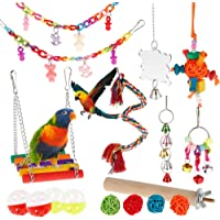 Bird Parrot Toy, Bird Swing Toys Bird Chewing Toys Colourful Pet Bird Toys with Wooden Hanging Stand Ladder Cage Hanging…
