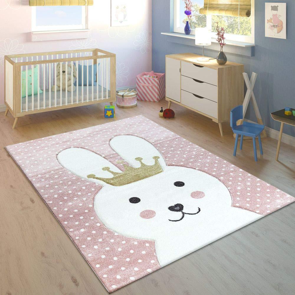 Kinderteppich Kinderzimmer Konturenschnitt Gepunktet Hase Krone Pastell Rosa, Grösse:160x230 cm