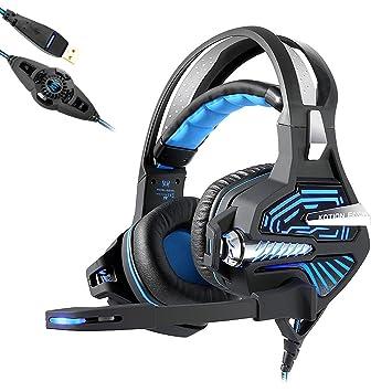 KOTION EACH GS100 Gaming Headset 7.1 Sonido Estéreo Envolvente USB Auriculares Diadema con Micrófono, Control de Volumen y LED Luz para PC Ordenador ...